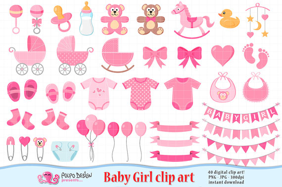 Baby girl born clipart. Its a scrapbook clip