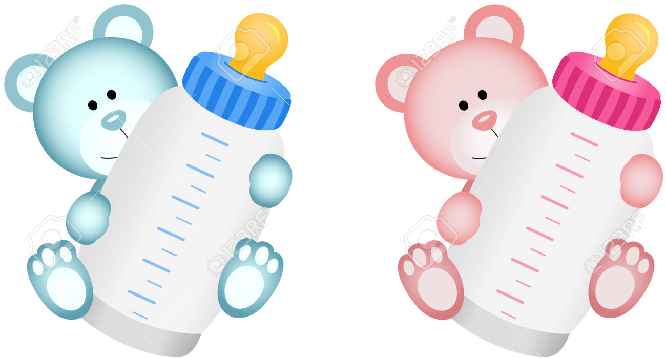 Baby girl bottle clipart svg royalty free library Lovely Baby Teddy Bear With Baby Bottle Royalty Free Cliparts ... svg royalty free library