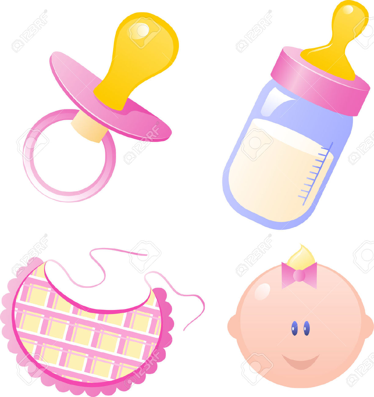 Baby girl bottle clipart banner transparent stock Pink Vector Baby's Dummy, Baby Bottle, Bib And Baby Girl. Isolated ... banner transparent stock