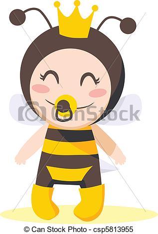 Baby girl bumblebee clipart. Queen bee stock illustrations