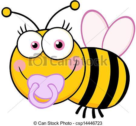 Vector illustration of bee. Baby girl bumblebee clipart