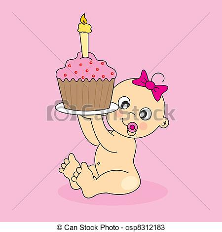Baby girl cake clipart. Vector clip art of