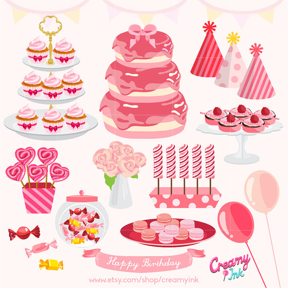 Baby girl cake clipart image royalty free stock Girls Birthday Party Digital Vector Clip Art/Baby girl Cakes ... image royalty free stock