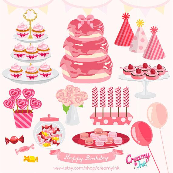 Baby girl cake clipart. Girls birthday party digital