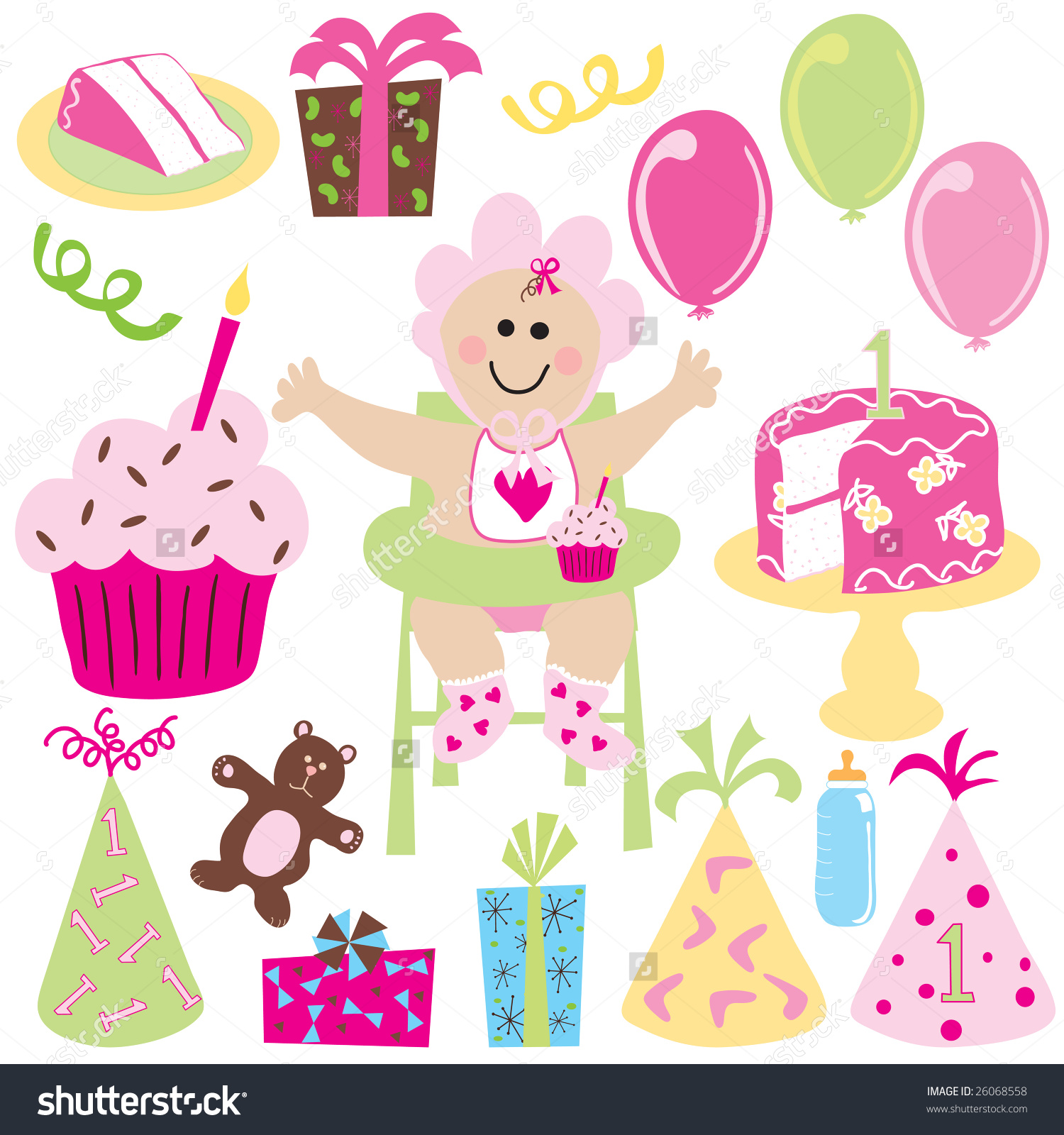 Baby girl cake clipart picture library download Baby Girls First Birthday Balloons Birthday Stock Vector 26068558 ... picture library download