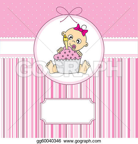 Baby girl cake clipart. Eps vector with a