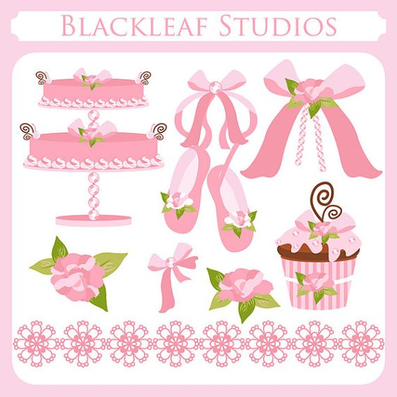 Baby girl cake clipart picture royalty free stock Baby Girl Clip Art Instant Download - cake, ballet shoes, cupcake ... picture royalty free stock