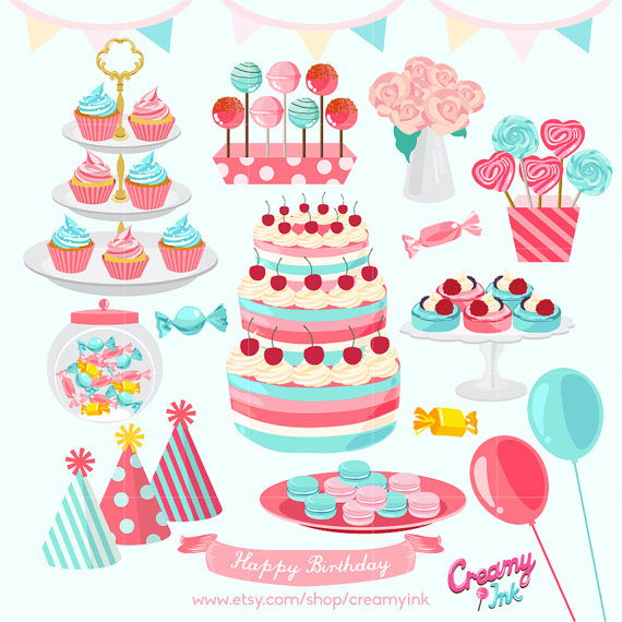 Baby girl cake clipart svg freeuse library Girls Birthday Party Digital Vector Clip Art/Baby girl Cakes ... svg freeuse library