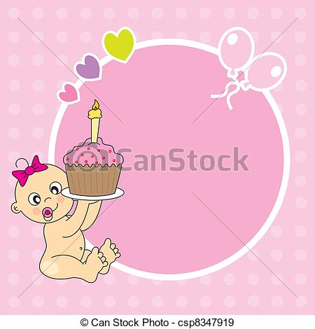 Baby girl cake clipart clipart free library Vector Clip Art of baby girl with a birthday cake - baby boy with ... clipart free library