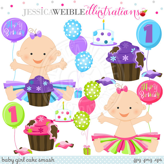 Baby girl cake clipart jpg library download Baby Girl Birthday Clipart - Clipart Kid jpg library download
