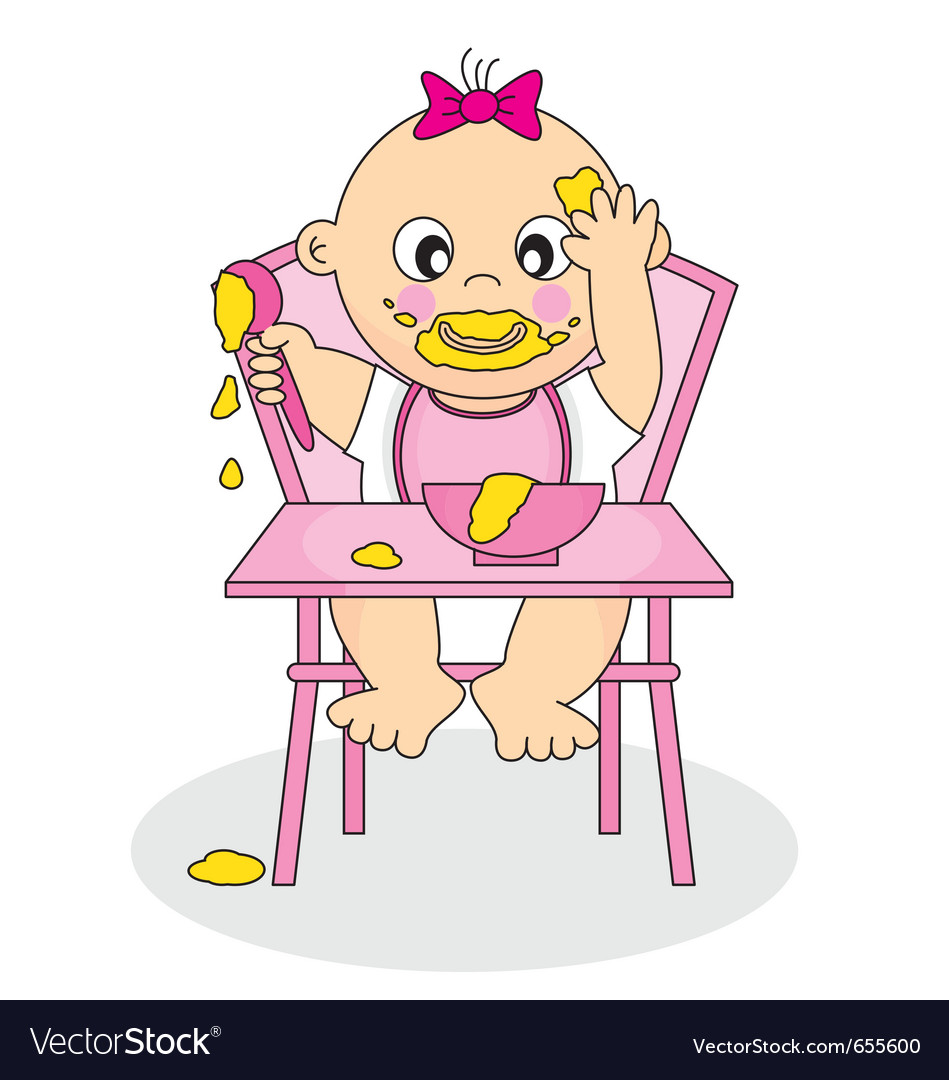 Baby girl chair clipart clipart Baby girl eating clipart