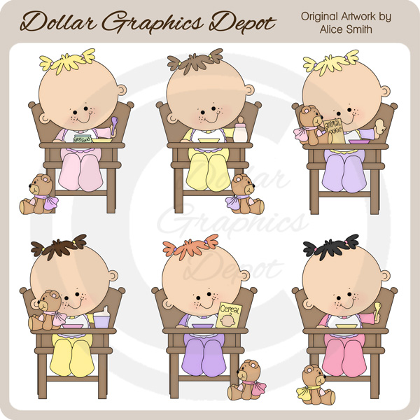 Baby girl chair clipart download High Chair Toddler Girls - Clip Art - *DGD Exclusive* - $1.00 ... download