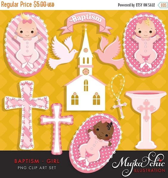 Babies off sale and. Baby girl christening clipart