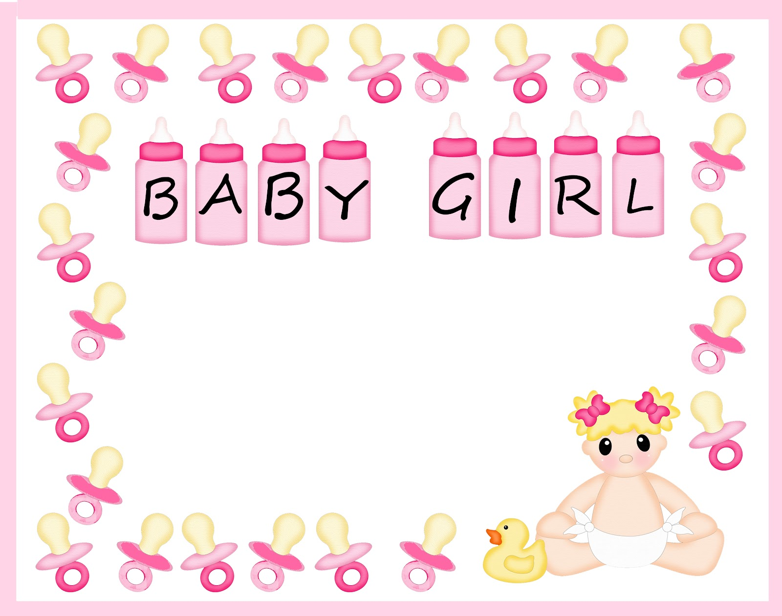 Baby girl clipart border picture freeuse library Free Baby Shower Border Templates - Cliparts.co picture freeuse library