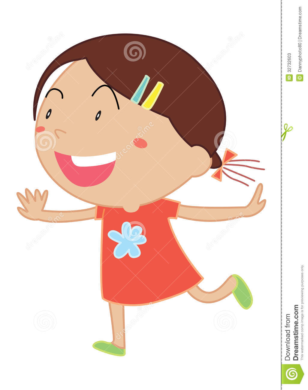 Simple child cartoon stock. Baby girl clipart cimple