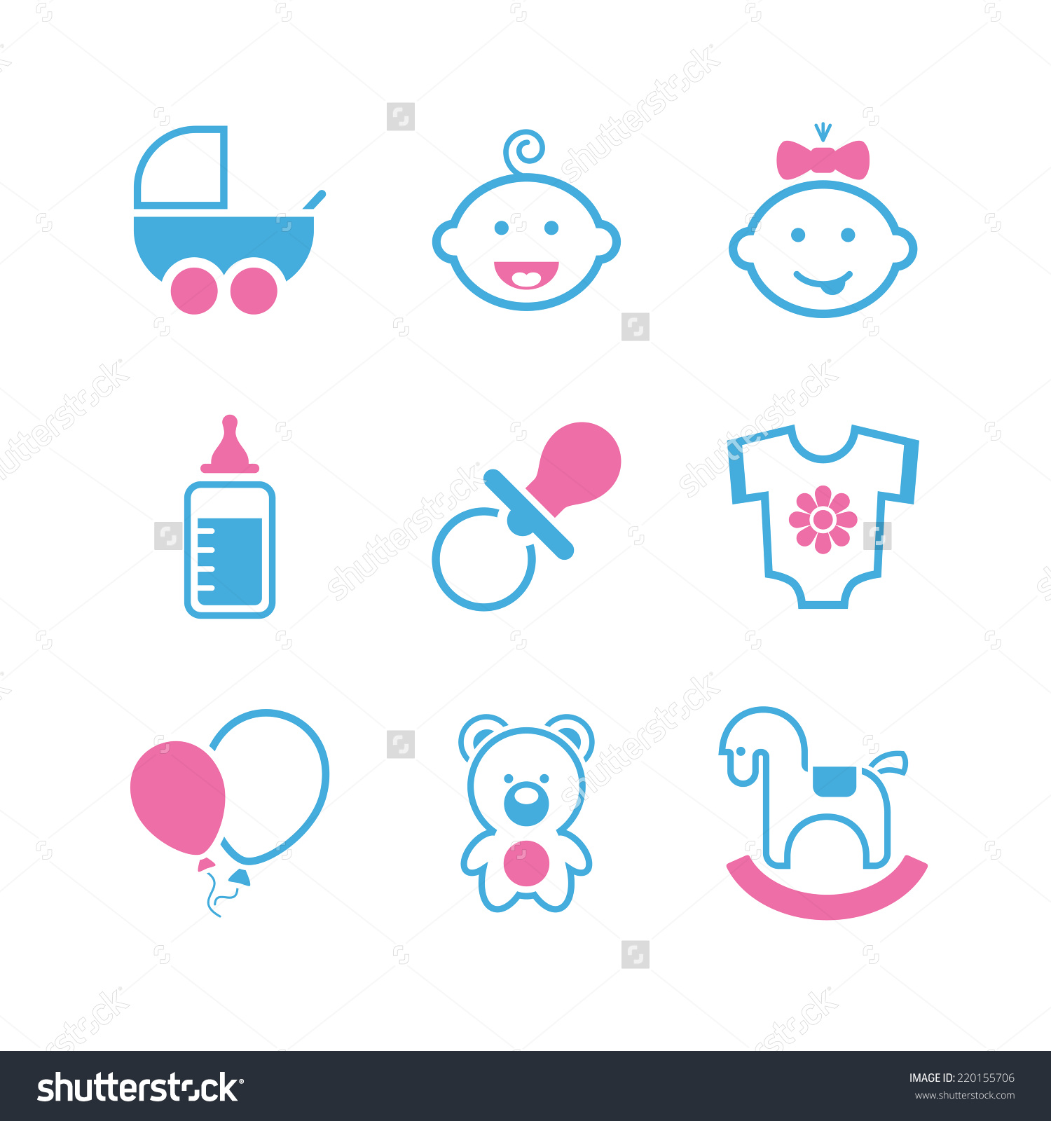 Simple vector icon set. Baby girl clipart cimple