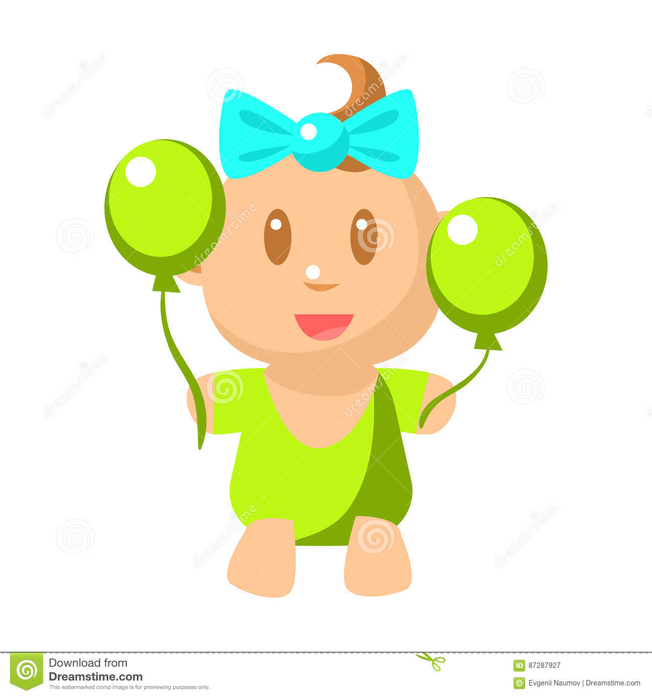 Small happy in green. Baby girl clipart cimple