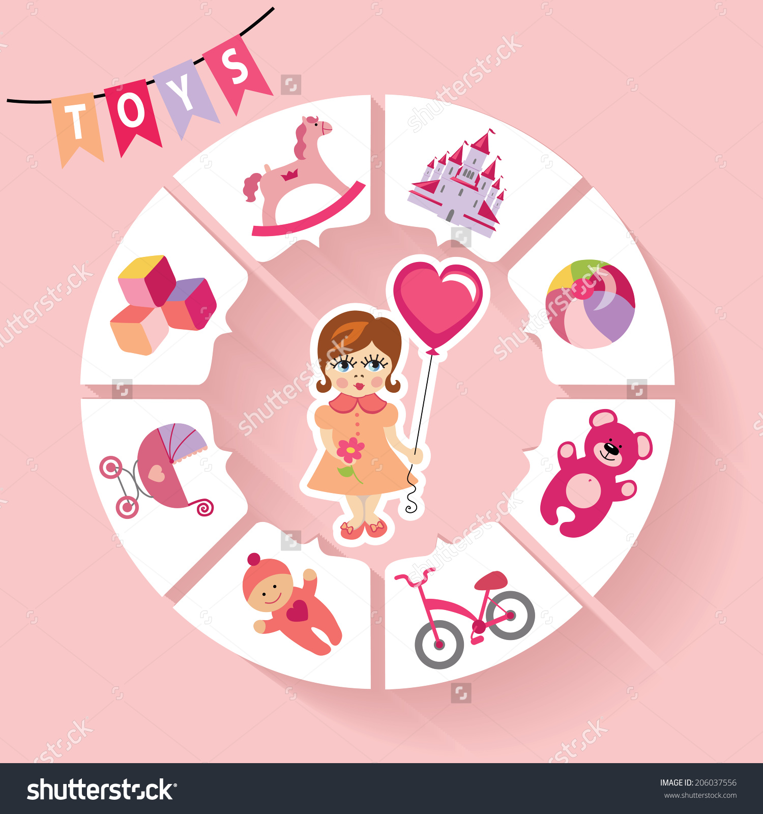 Baby girl clipart cimple freeuse download Cute Children Toys Infographic Simple Flat Stock Vector 206037556 ... freeuse download