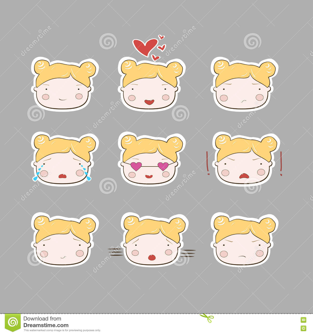 Baby girl clipart cimple graphic transparent Cute Simple Drawing Blonde Baby Girl Emotions Set Stock Vector ... graphic transparent