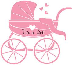 Baby girl clipart cimple freeuse library Girl Baby Shower Clip Art | Baby Carriage Clipart Image - A pink ... freeuse library