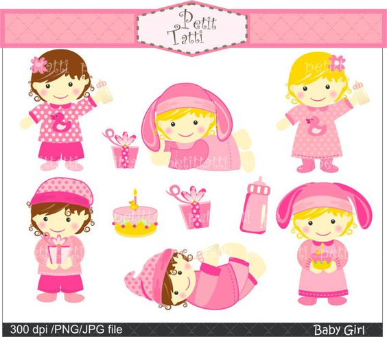 Baby girl clipart cimple banner black and white baby girl clip art , pink babies girls , instant download Digital ... banner black and white