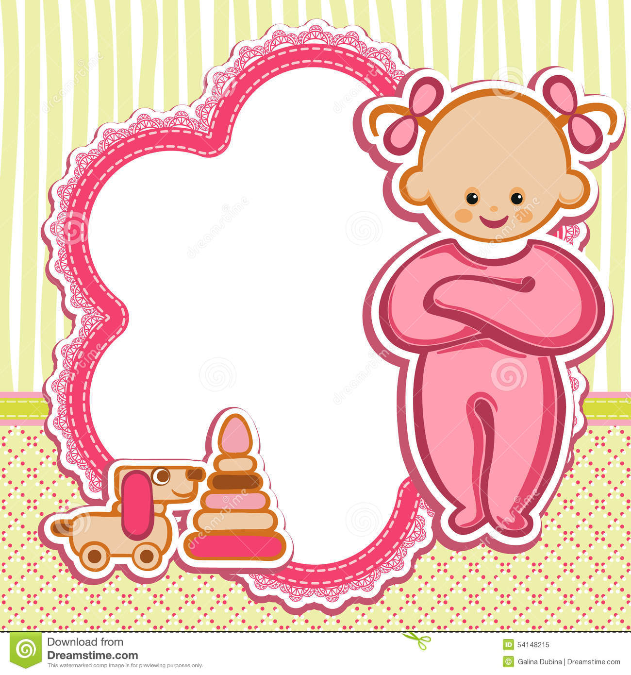 Card for stock vector. Baby girl clipart simple