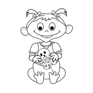 Little black and white. Baby girl clipart simple