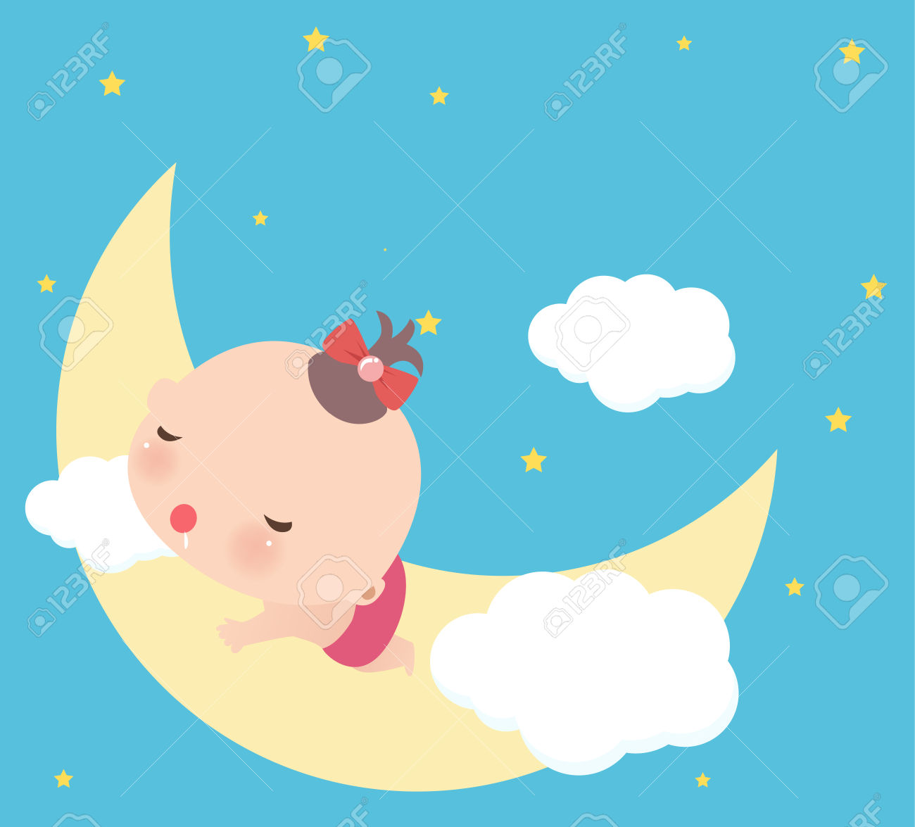 Baby girl clipart sleeping png freeuse Illustraon Of A Cute Little Baby Girl Sleeping Royalty Free ... png freeuse