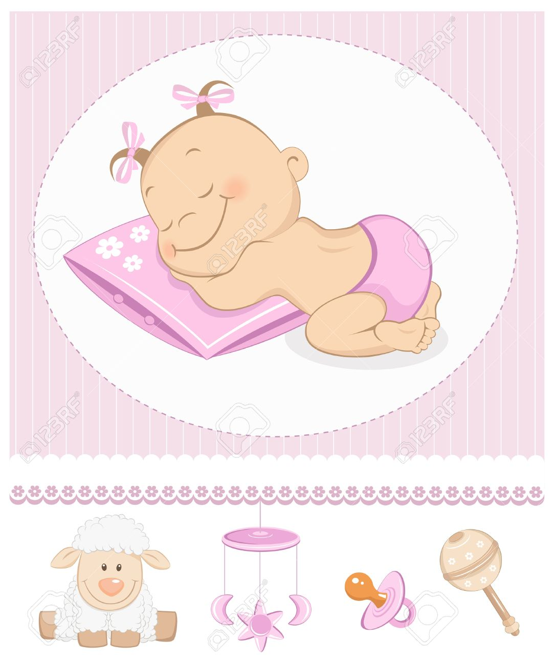 Baby girl clipart sleeping clip Sleeping Sweet Girl Arrival Announcement. Photo Frame With Baby ... clip