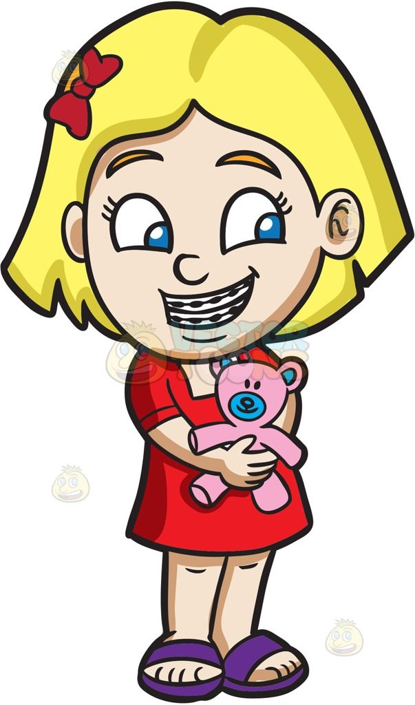 Baby girl face with hair clipart with pink bow clip art library library A girl with braces hugging her teddy : A girl with blonde hair ... clip art library library