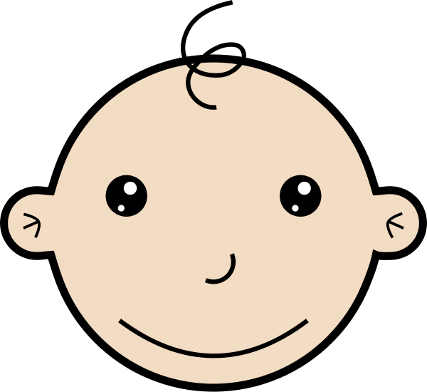 Baby girl head clipart. Lying the cliparts smiling