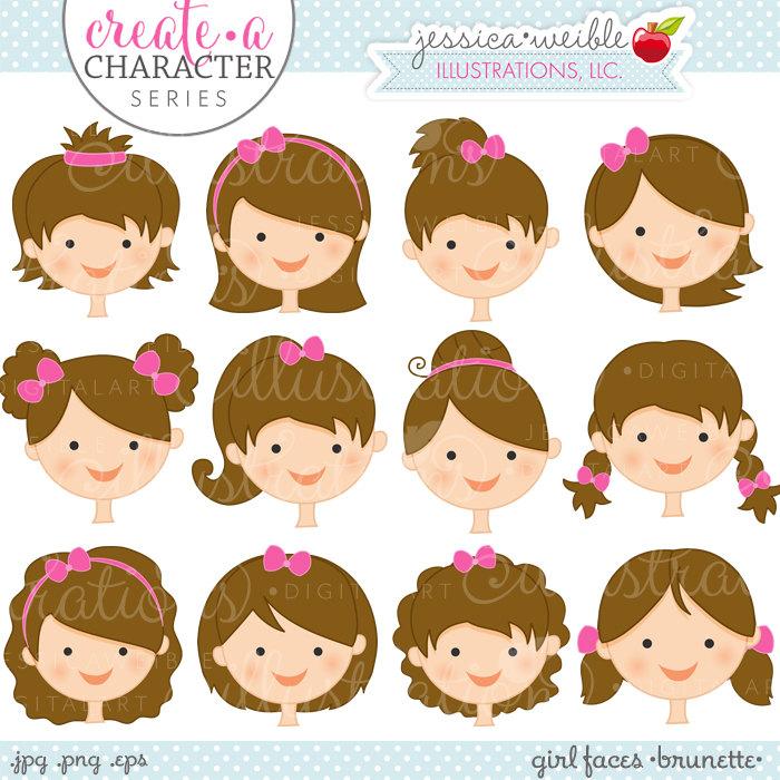 Baby girl head clipart vector Hair clipart | Etsy vector