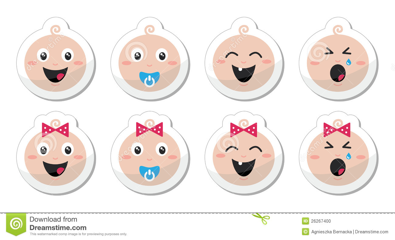 Baby girl head clipart svg black and white Baby Boy, Baby Girl Face - Crying, With Soother, S Stock Photo ... svg black and white