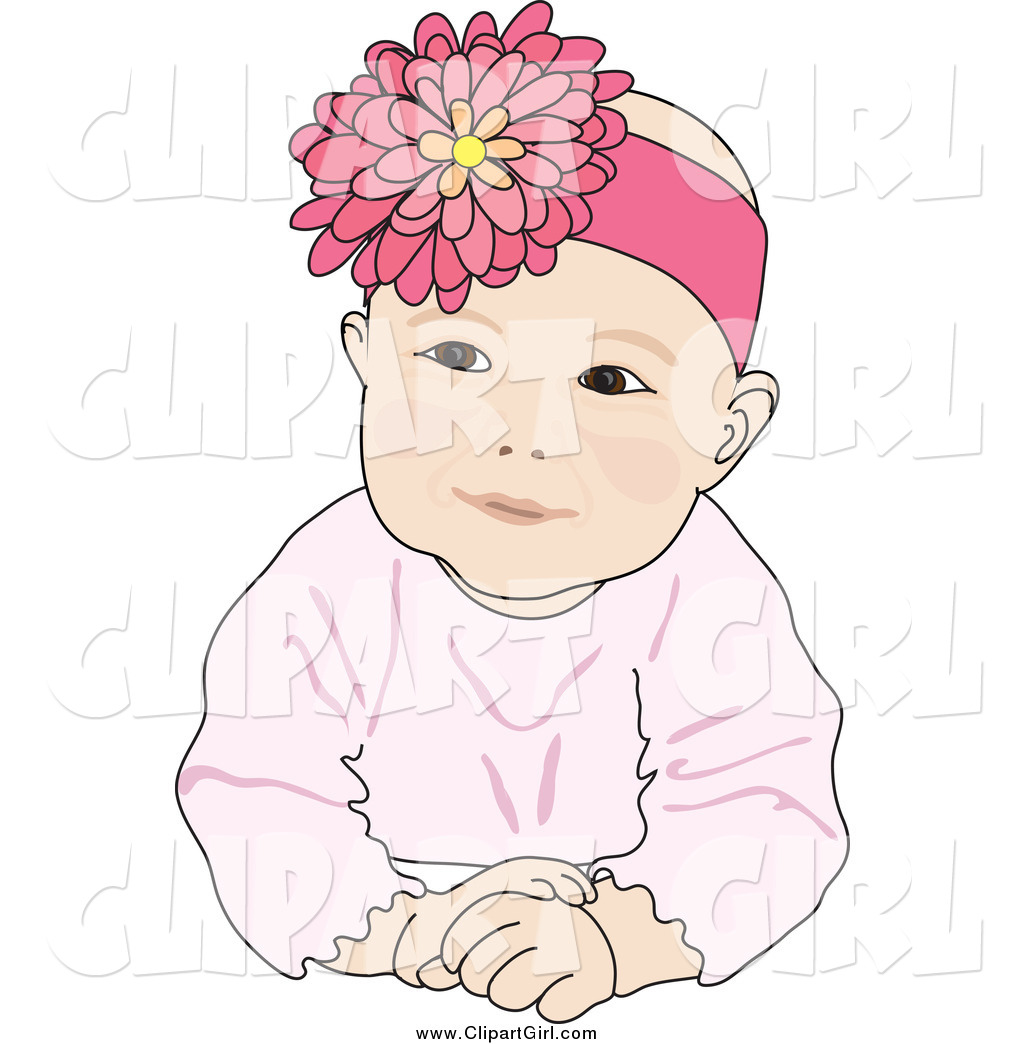 Baby girl head clipart jpg freeuse stock Clip Art of a Cute Caucasian Baby Girl Wearing a Flower Head Band ... jpg freeuse stock