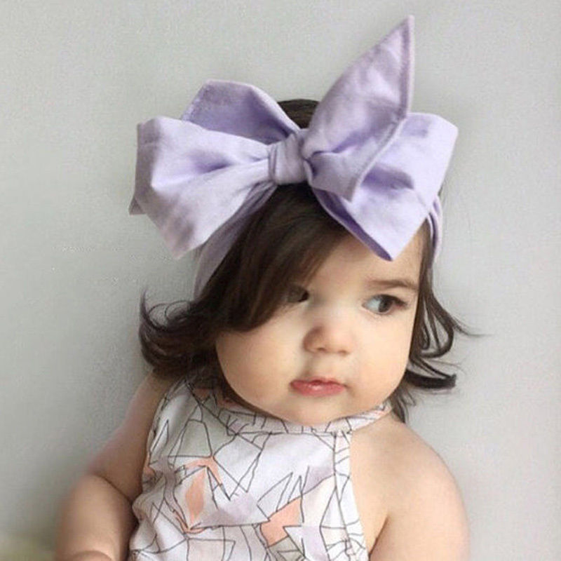 Bows infant headband promotion. Baby girl head with big bow clipart