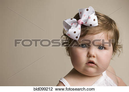 Baby girl head with big bow clipart svg library library Stock Photo of Cute Caucasian baby girl with bow in her hair ... svg library library