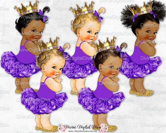 Baby girl in lavender tutu clipart svg download Princess Ballerina Purple Tutu Gold Crown Shoes | Vintage Baby Girl ... svg download