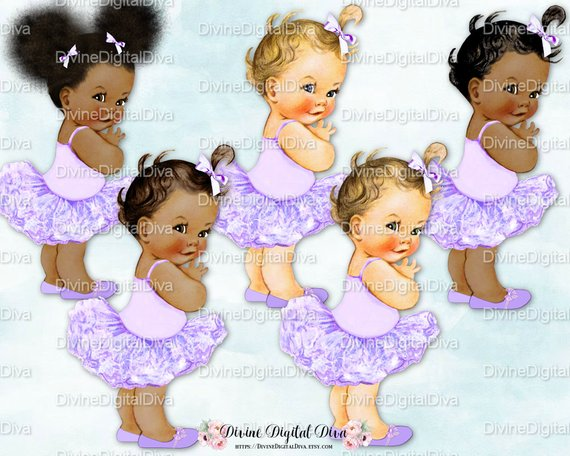 Baby girl in lavender tutu clipart picture transparent library Princess Ballerina Lavender Tutu | Vintage Baby Girl | 3 Skin Tones ... picture transparent library