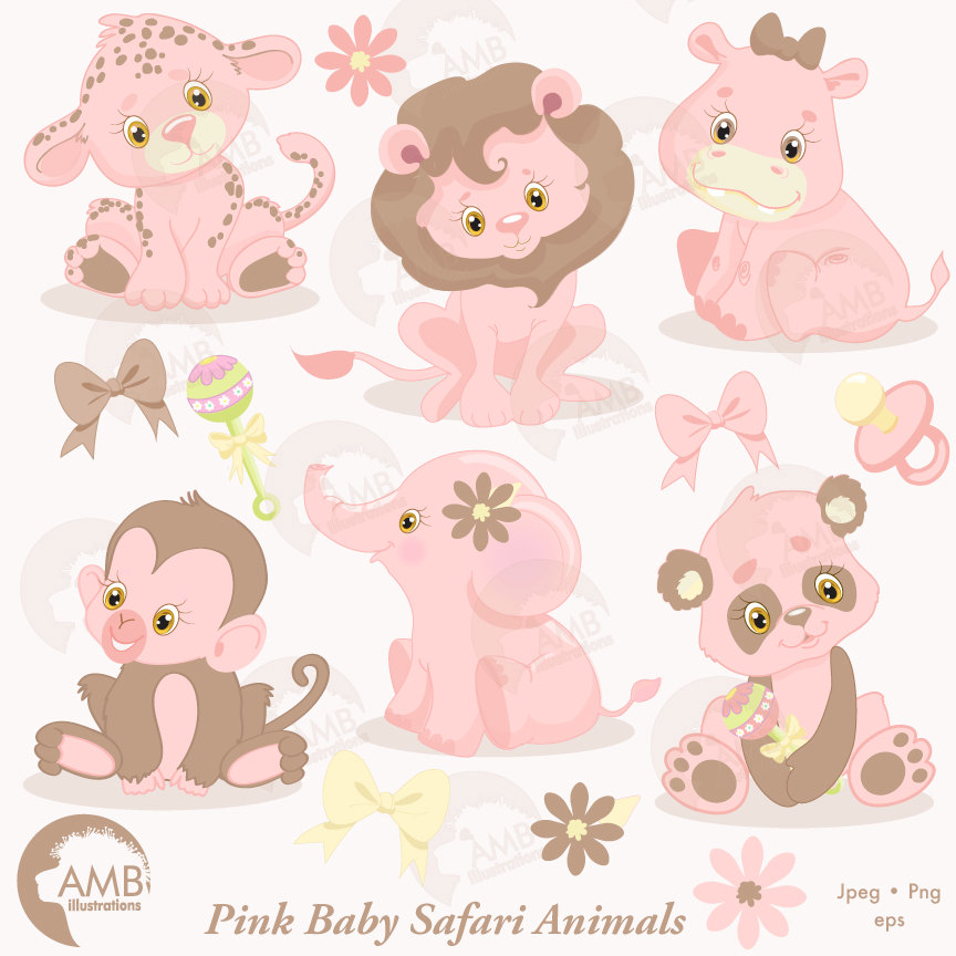 Baby girl jungle animals clipart image freeuse stock Jungle Animals Clipart Animal Babies Pink Baby Interesting Girl ... image freeuse stock