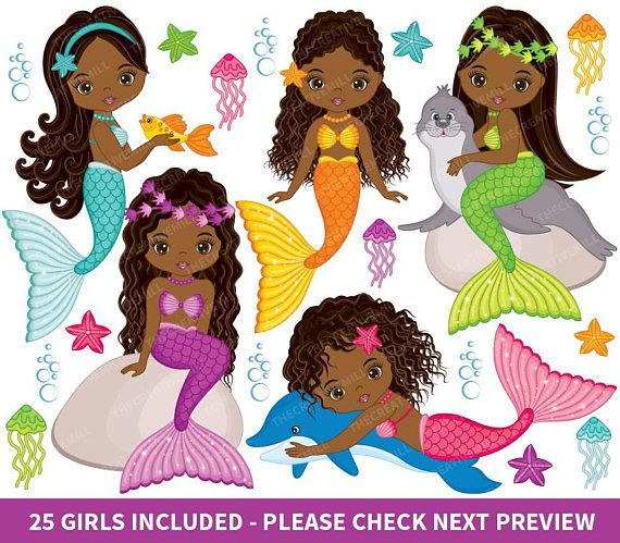 Black mermaid with beads clipart svg transparent library Mermaids Clipart - Vector Mermaids Clipart, Fish Girls Clipart ... svg transparent library