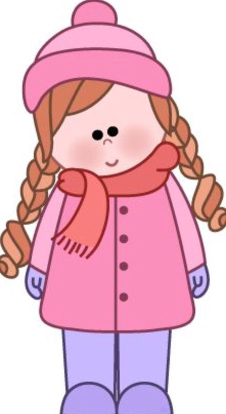 Baby girl mitens clipart jpg library download Wrap up warm - preschooler wearing hat, scarf and gloves | School ... jpg library download