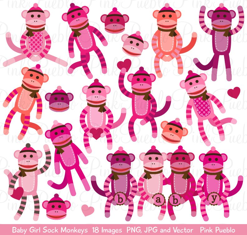 Baby girl monkey clipart png black and white library Baby Girl Sock Monkey Clipart/Vector png black and white library