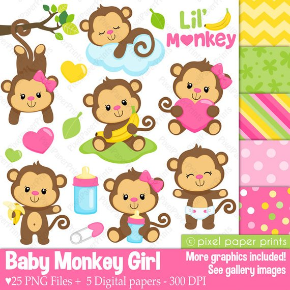 Baby girl monkey clipart clip art freeuse download Baby Monkey Girl - Clipart and Digital paper set - Monkey clip art ... clip art freeuse download