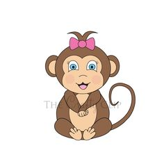 Baby girl monkey clipart vector royalty free library Cute Girl Monkey Clipart vector royalty free library