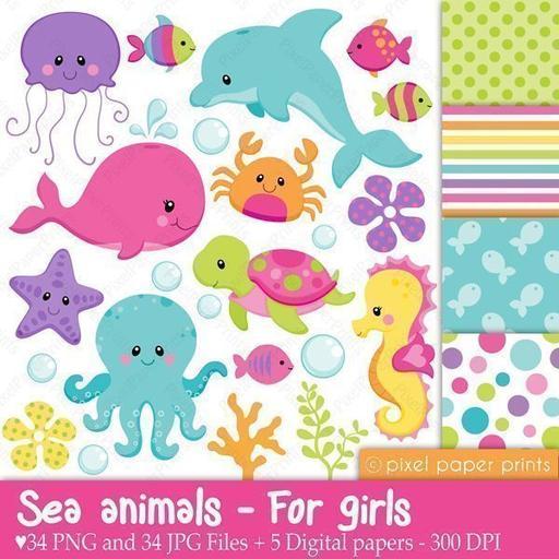 Baby girl ocean life clipart clipart transparent download Aquatic & Sealife Cliparts — mygrafico clipart transparent download