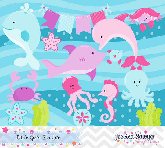 Baby girl ocean life clipart graphic freeuse Girls Ocean Clipart and Vectors. Cute for an Ocean Party or Baby ... graphic freeuse
