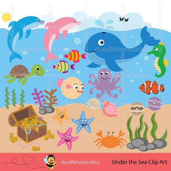 Underwater sea creatures clipart png black and white Sea Life Clipart, Sea Creatures Clip Art, Sealife Clipart, Sea ... png black and white