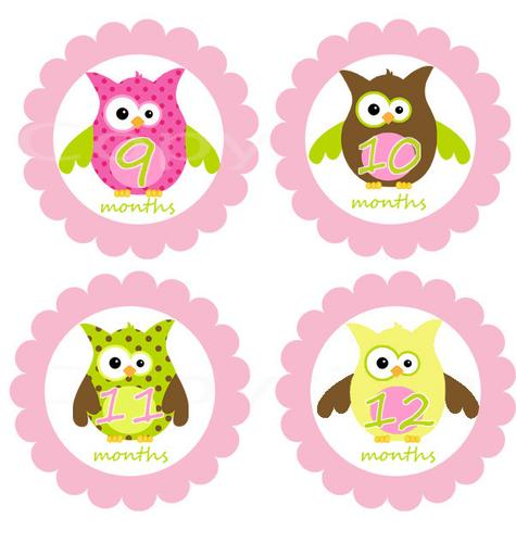 Clipartfest monthly onesie stickers. Baby girl owl clipart