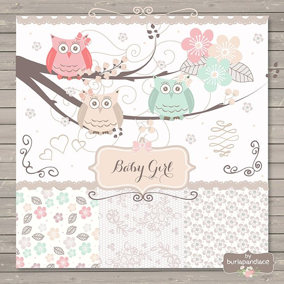 Baby girl owl clipart. Invitatio illustrations on creative
