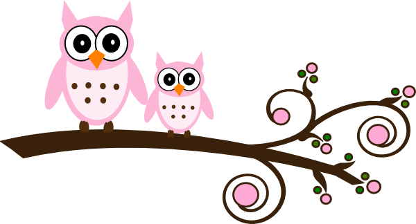 Kid pink on branch. Baby girl owl clipart